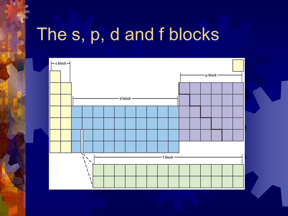 The s, p, d and f blocks