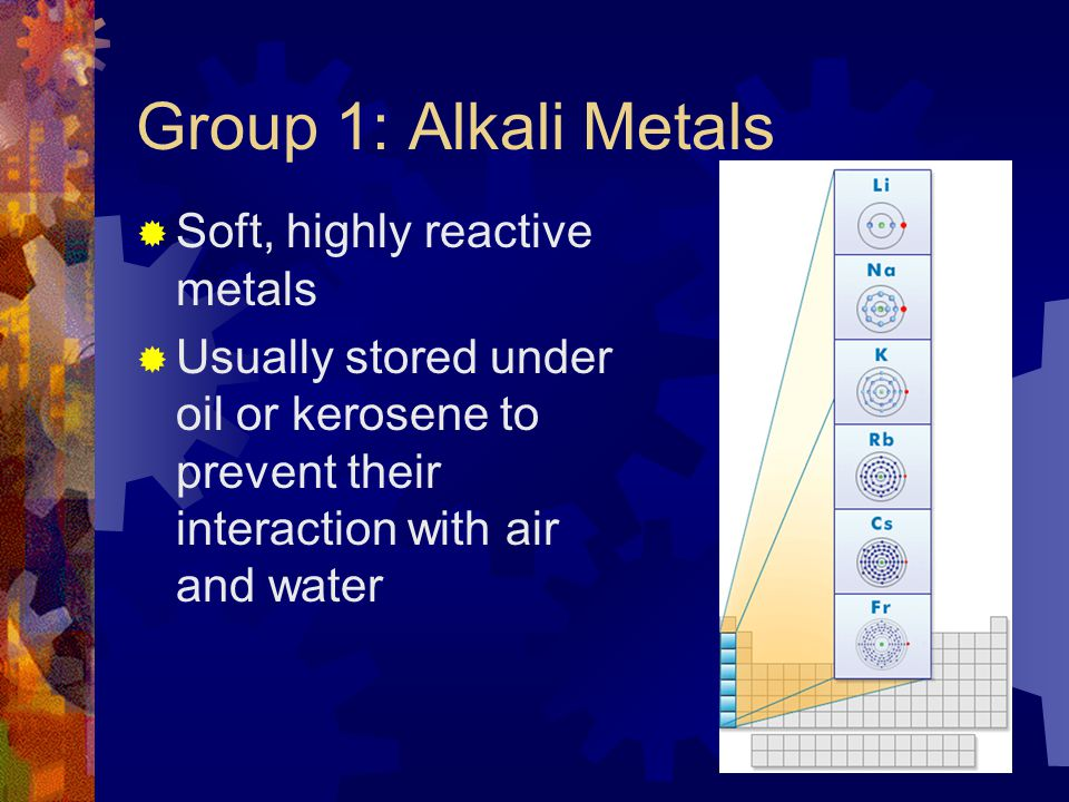 Group 1: Alkali Metals Soft, highly reactive metals