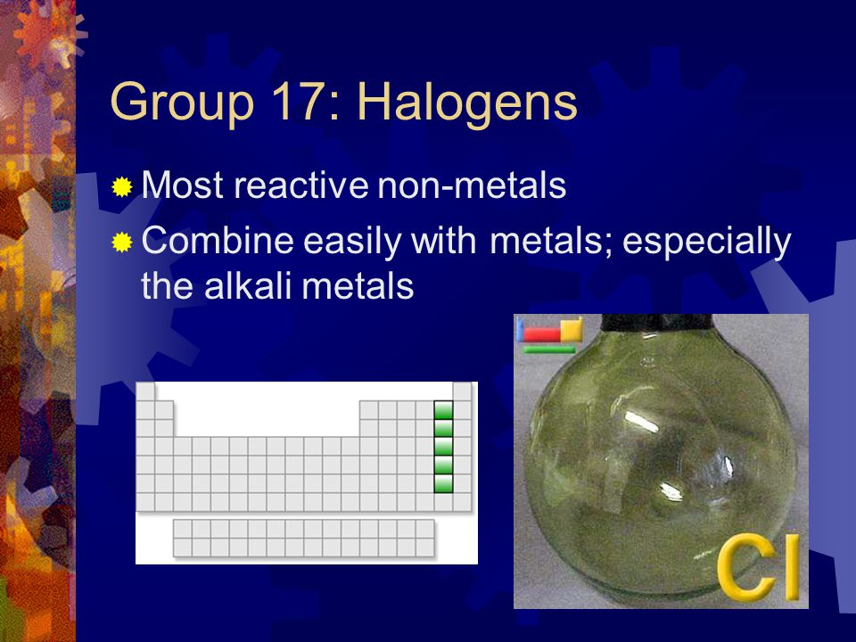 Group 17: Halogens Most reactive non-metals