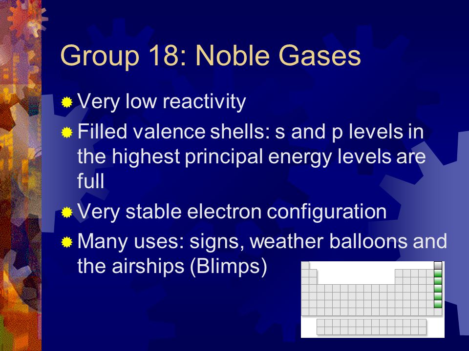Group 18: Noble Gases Very low reactivity