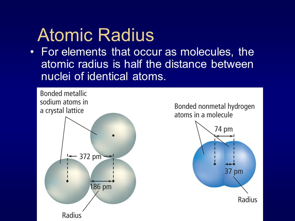 Atomic Radius For elements that occur as molecules, the atomic radius is half the distance between nuclei of identical atoms.