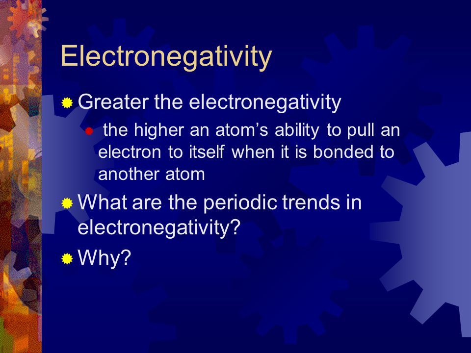 Electronegativity Greater the electronegativity