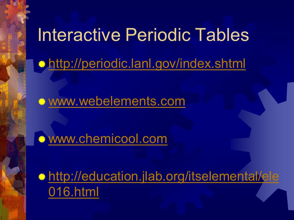 Interactive Periodic Tables