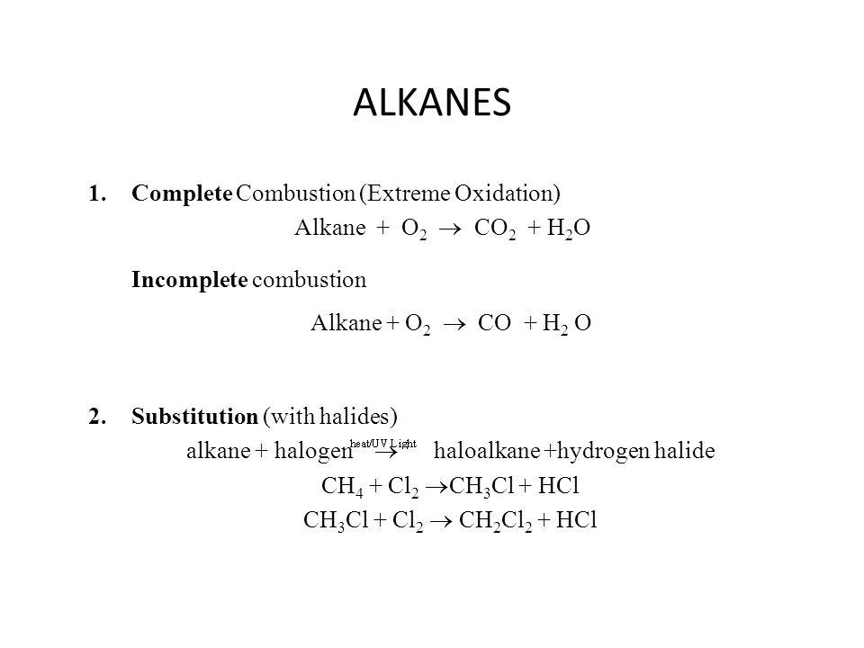 alkane + halogen  haloalkane +hydrogen halide