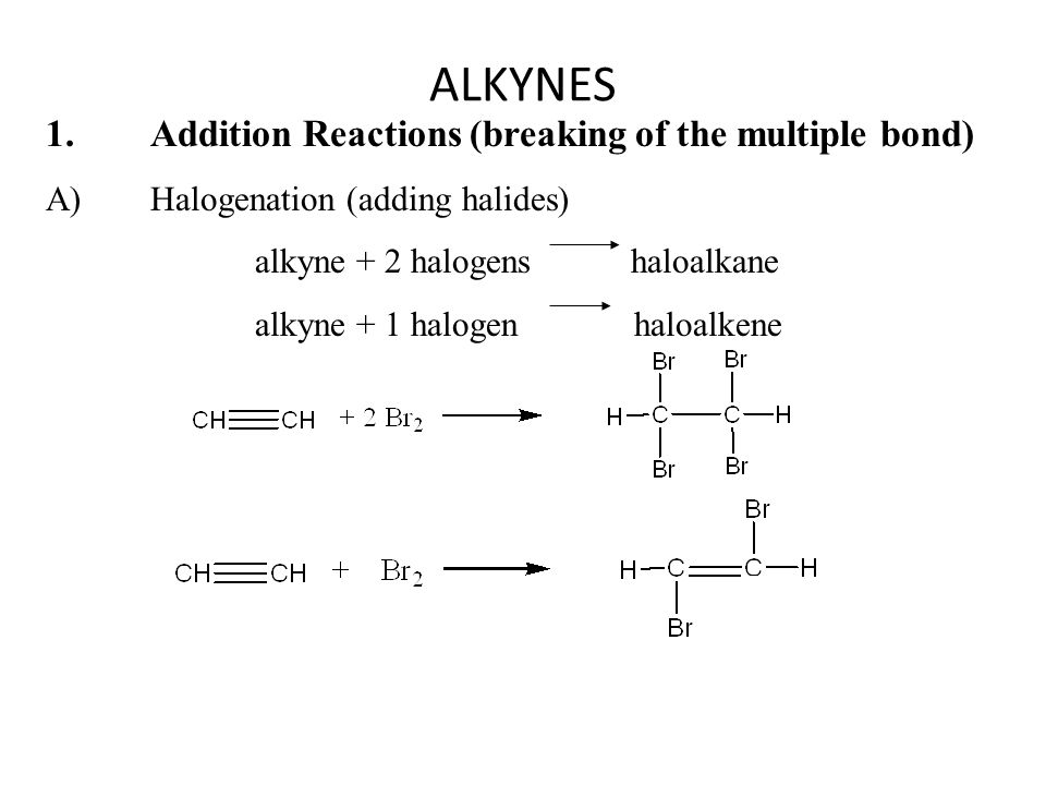ALKYNES 1. Addition Reactions (breaking of the multiple bond)