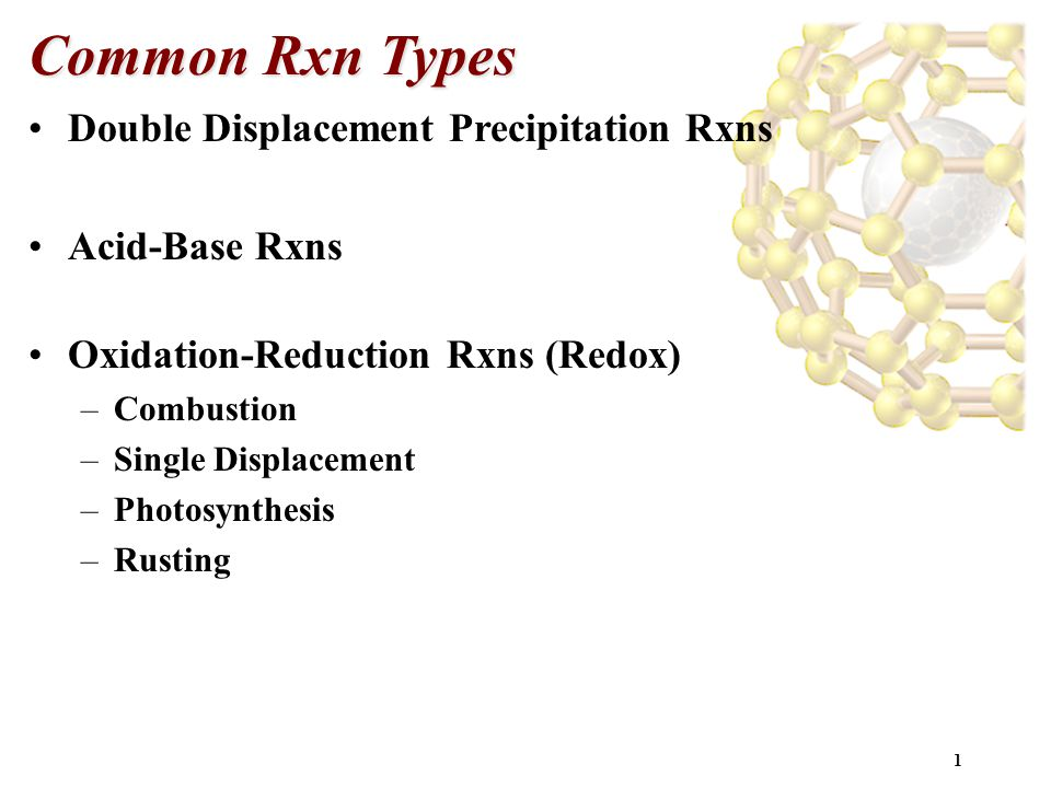 Common Rxn Types Double Displacement Precipitation Rxns Acid-Base Rxns