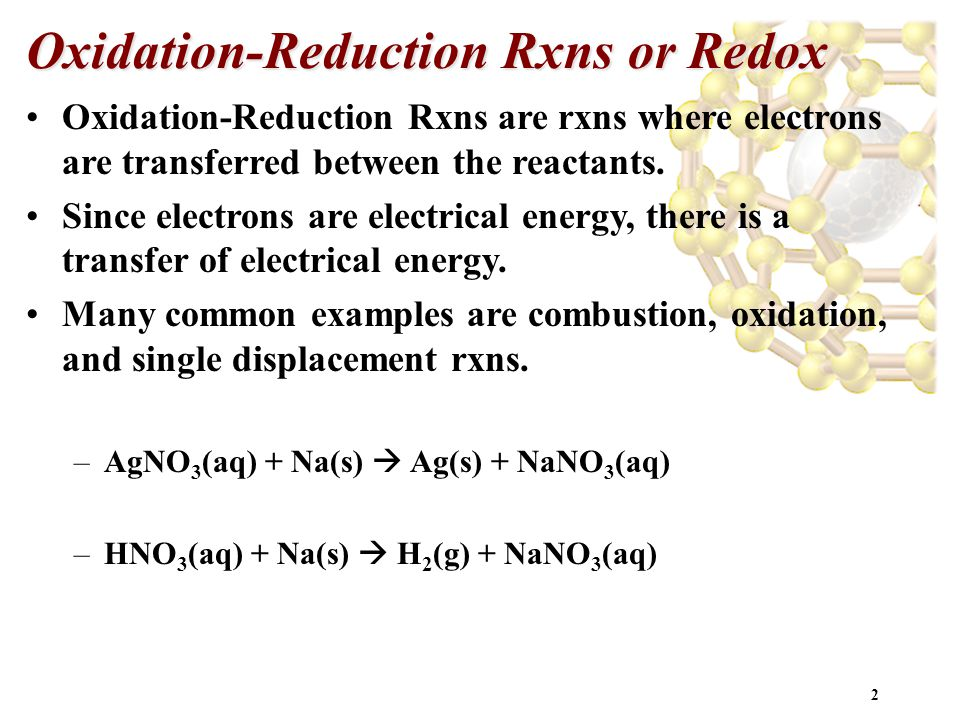 Oxidation-Reduction Rxns or Redox