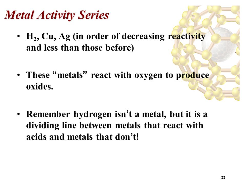 Metal Activity Series H2, Cu, Ag (in order of decreasing reactivity and less than those before) These metals react with oxygen to produce oxides.