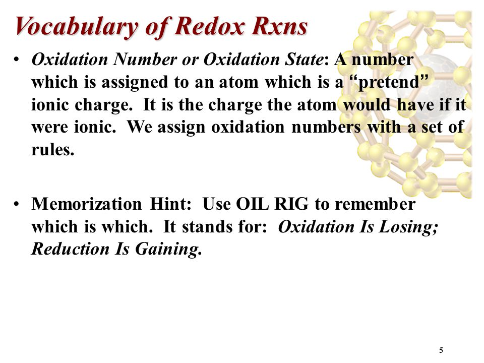 Vocabulary of Redox Rxns