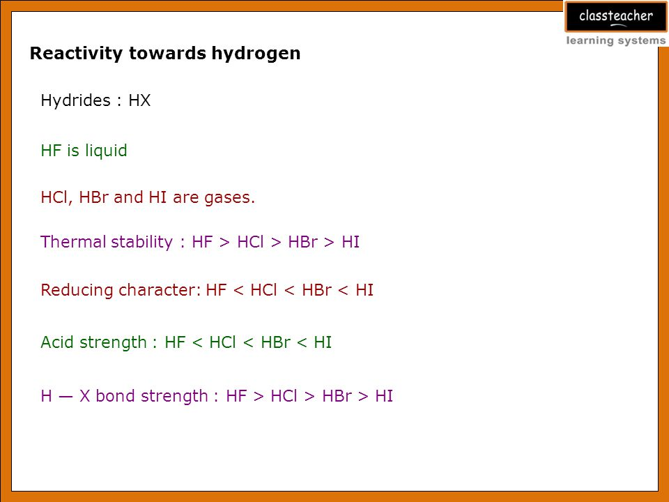 Reactivity towards hydrogen