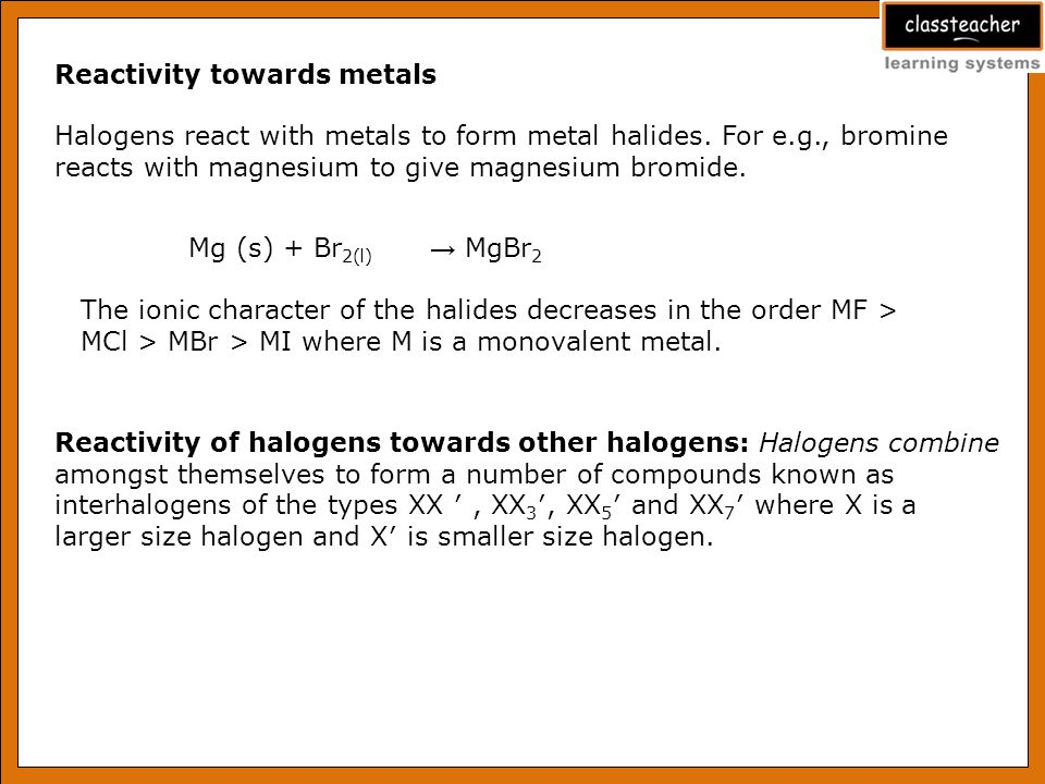 Reactivity towards metals
