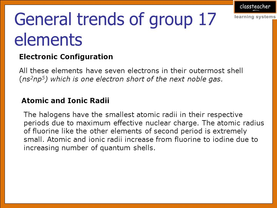 General trends of group 17 elements