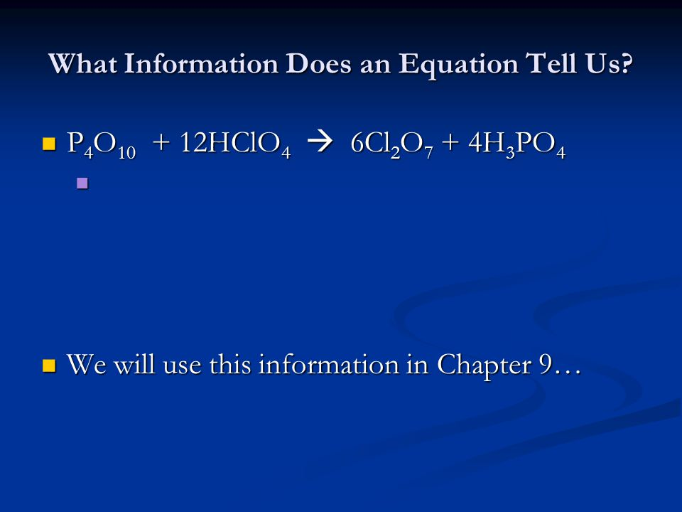 What Information Does an Equation Tell Us