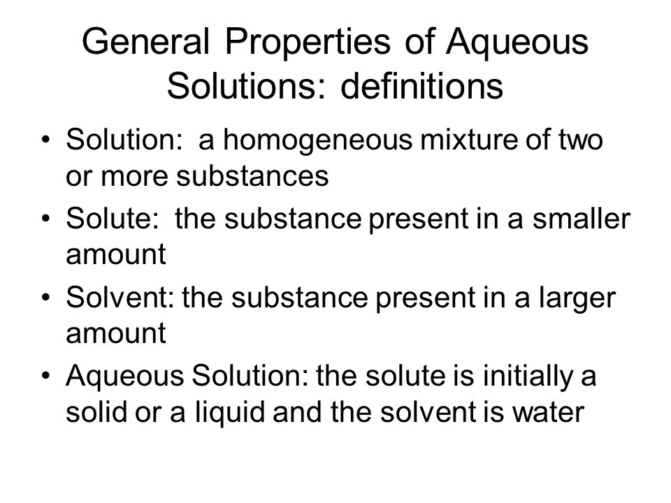General Properties of Aqueous Solutions: definitions