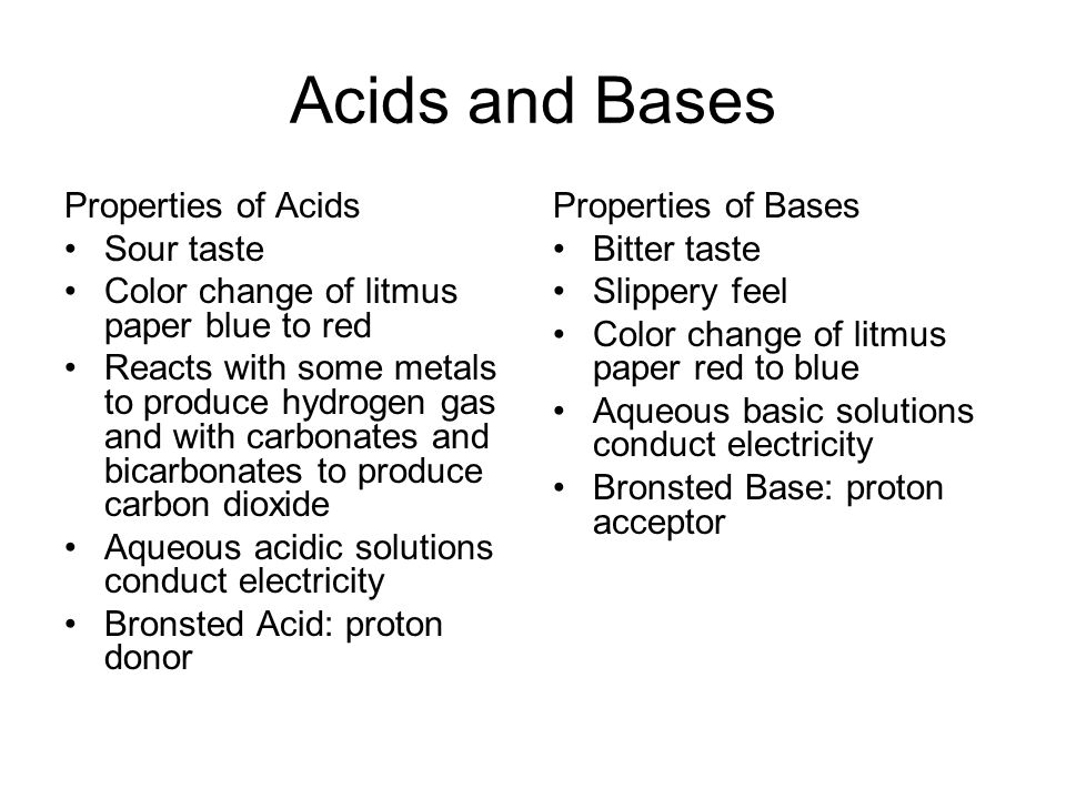 Acids and Bases Properties of Acids Sour taste