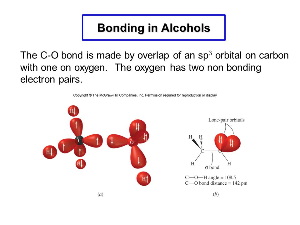 Bonding in Alcohols The C-O bond is made by overlap of an sp3 orbital on carbon with one on oxygen. The oxygen has two non bonding electron pairs.