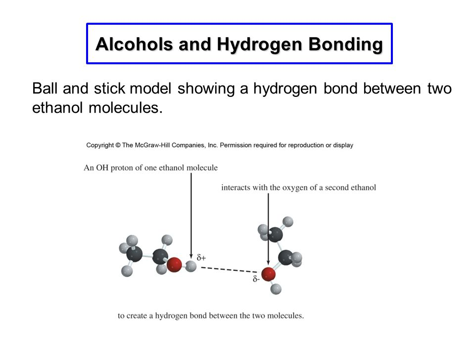 Alcohols and Hydrogen Bonding