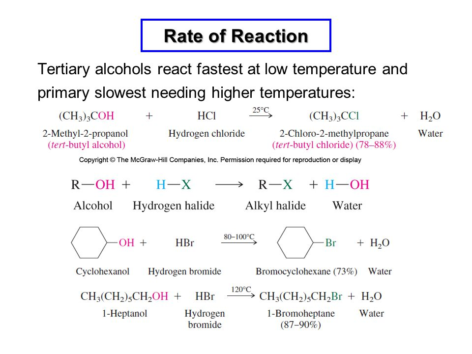 Rate of Reaction Tertiary alcohols react fastest at low temperature and primary slowest needing higher temperatures: