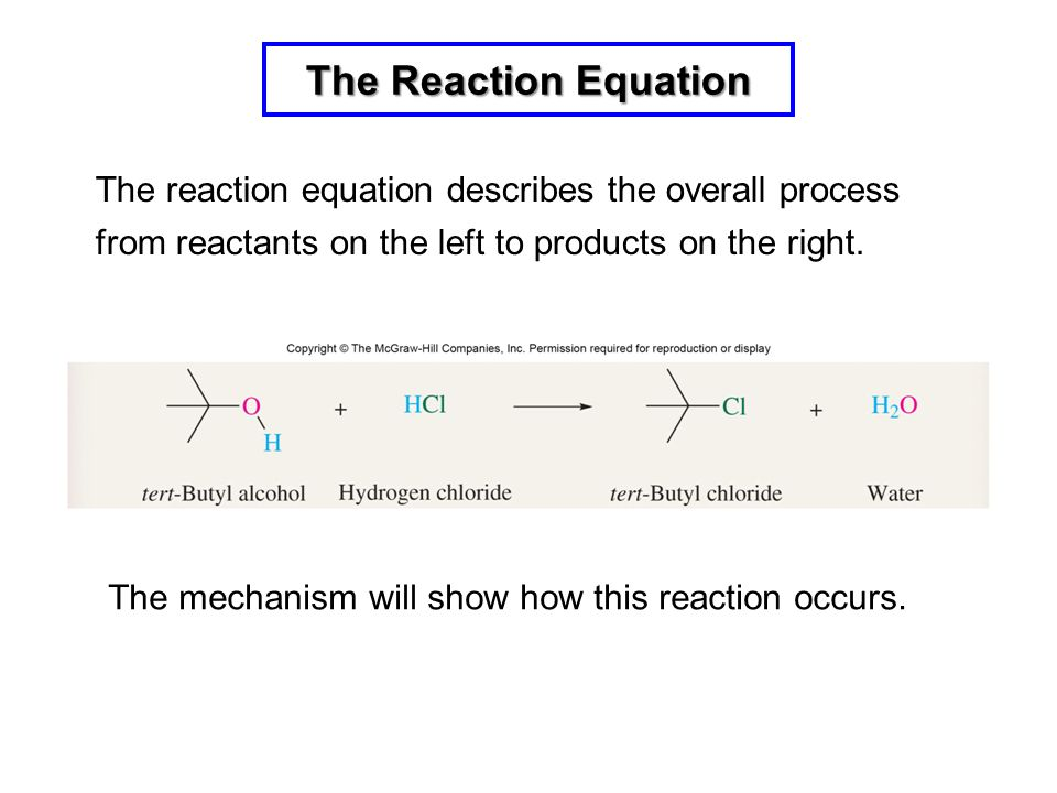 The Reaction Equation The reaction equation describes the overall process from reactants on the left to products on the right.