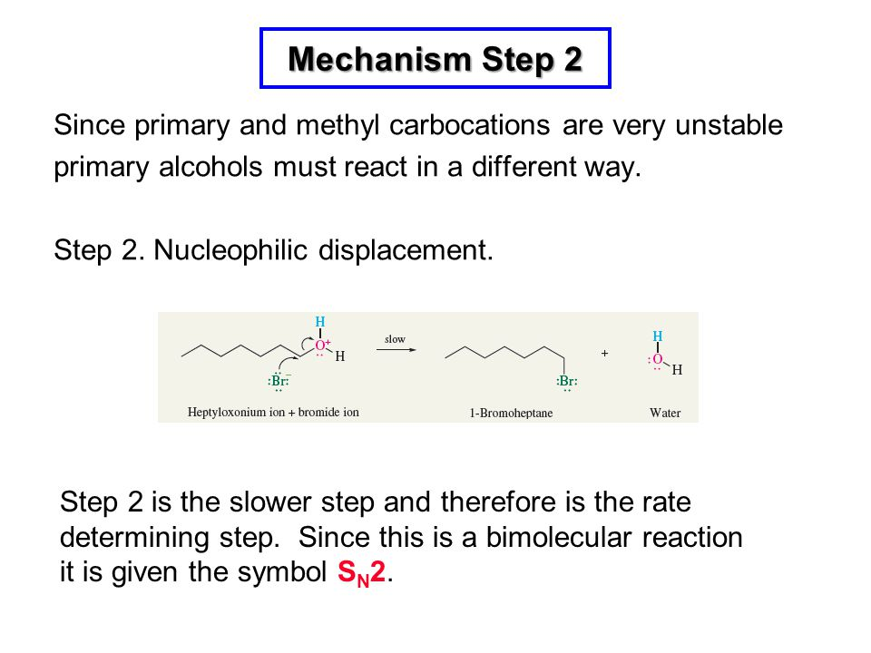Mechanism Step 2 Since primary and methyl carbocations are very unstable. primary alcohols must react in a different way.