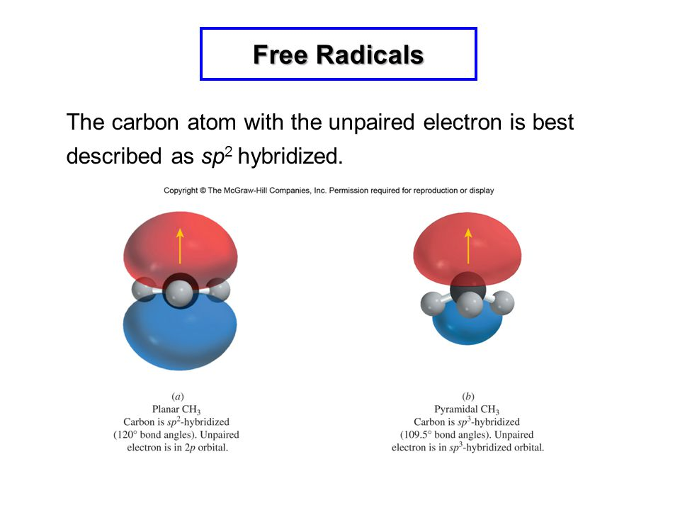 Free Radicals The carbon atom with the unpaired electron is best described as sp2 hybridized. 8