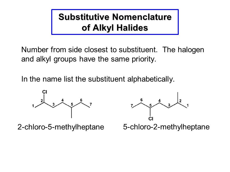 Substitutive Nomenclature of Alkyl Halides