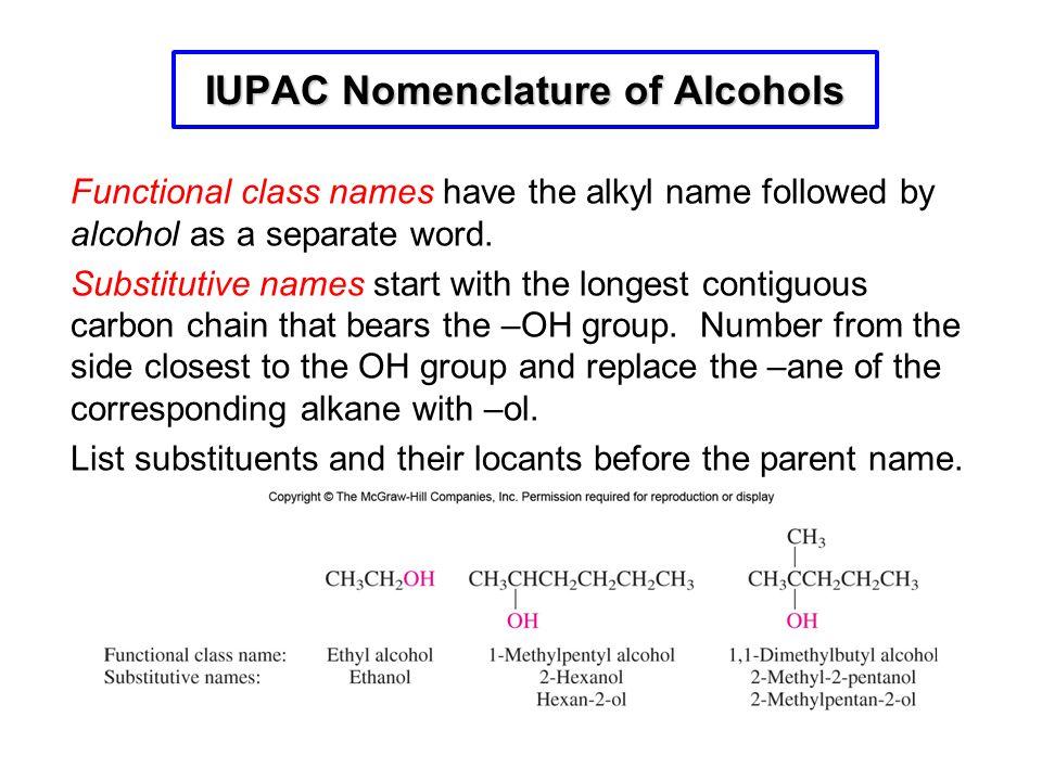 IUPAC Nomenclature of Alcohols