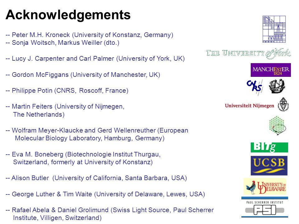 Acknowledgements -- Peter M.H. Kroneck (University of Konstanz, Germany) -- Sonja Woitsch, Markus Weiller (dto.)