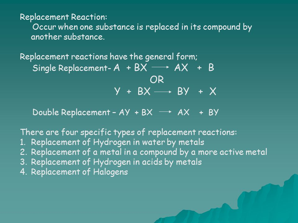OR Y + BX BY + X Replacement Reaction: