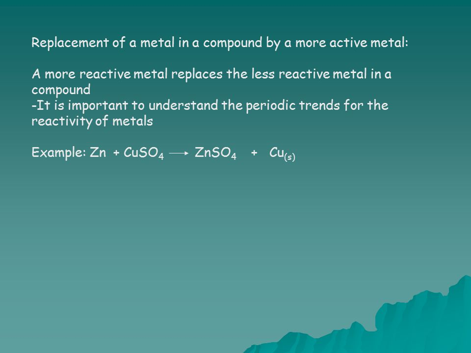 Replacement of a metal in a compound by a more active metal: