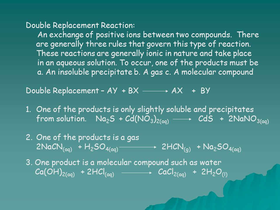 Double Replacement Reaction: