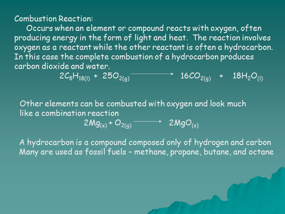 Combustion Reaction: