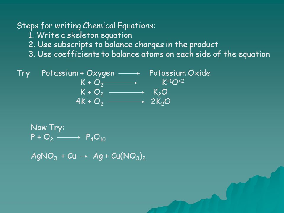 Steps for writing Chemical Equations: