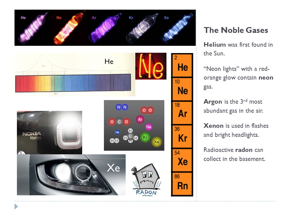 Xe The Noble Gases He Helium was first found in the Sun.