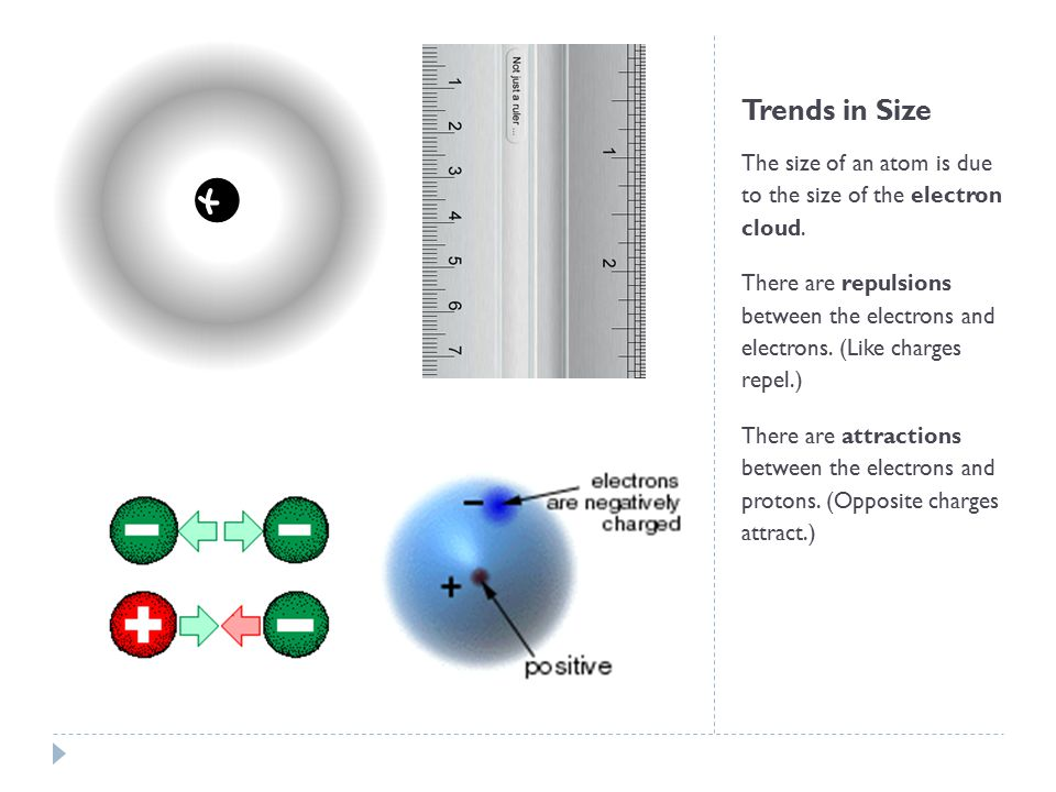 Trends in Size The size of an atom is due to the size of the electron cloud.