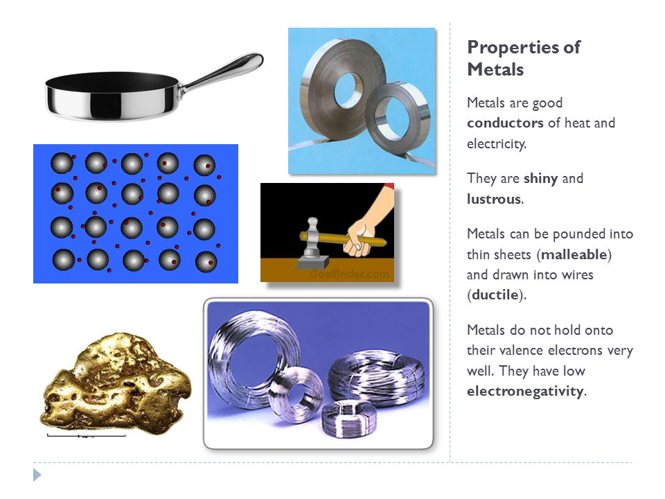 Properties of Metals Metals are good conductors of heat and electricity. They are shiny and lustrous.