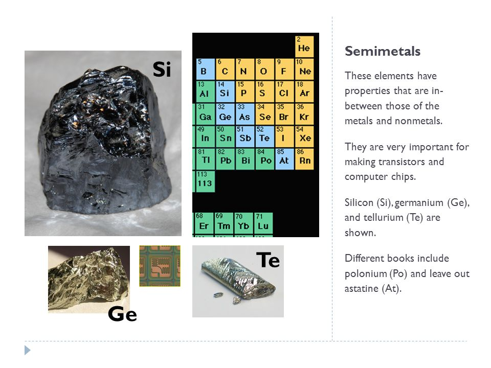 Semimetals Si. These elements have properties that are in- between those of the metals and nonmetals.