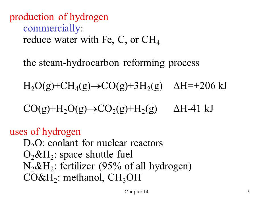 production of hydrogen commercially: reduce water with Fe, C, or CH4