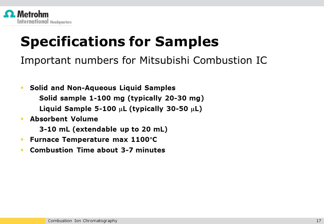 Specifications for Samples