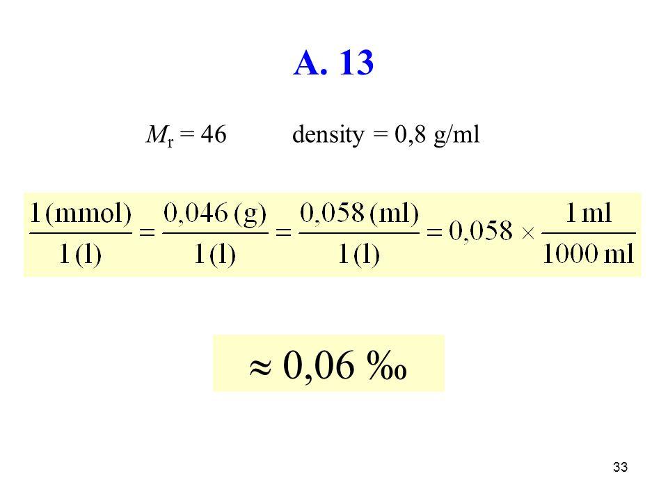 A. 13 Mr = 46 density = 0,8 g/ml  0,06 ‰