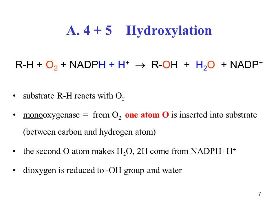 R-H + O2 + NADPH + H+  R-OH + H2O + NADP+