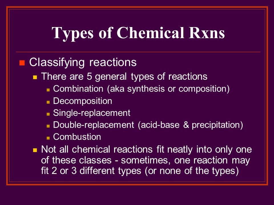 Types of Chemical Rxns Classifying reactions