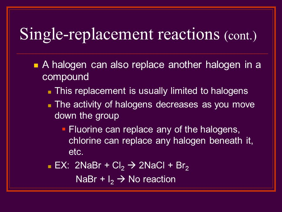 Single-replacement reactions (cont.)