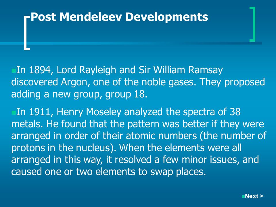 Post Mendeleev Developments