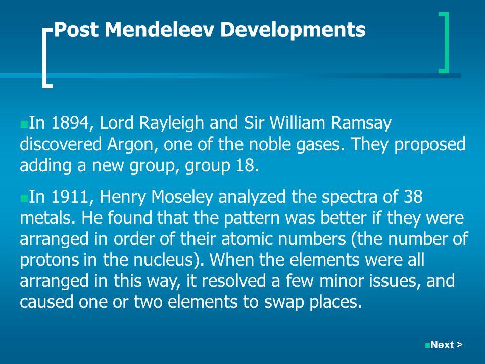 Post Mendeleev Developments