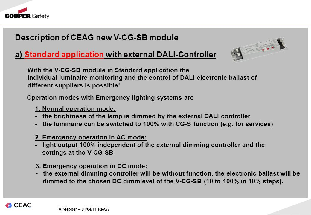Description of CEAG new V-CG-SB module