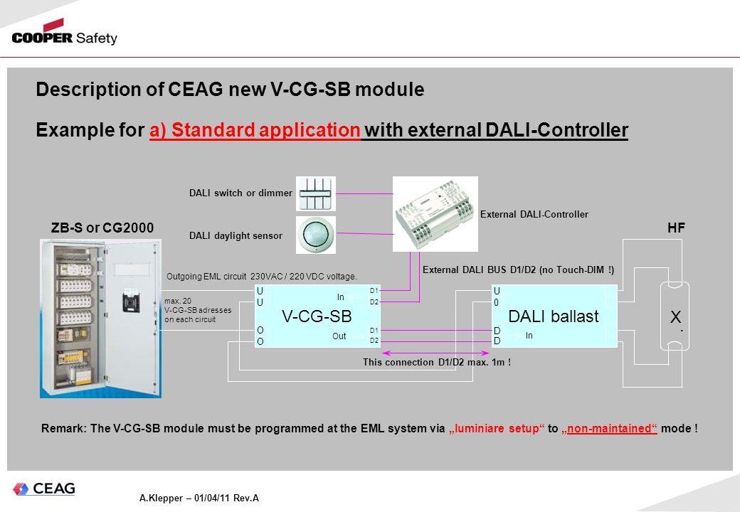 Outgoing EML circuit 230VAC / 220 VDC voltage.