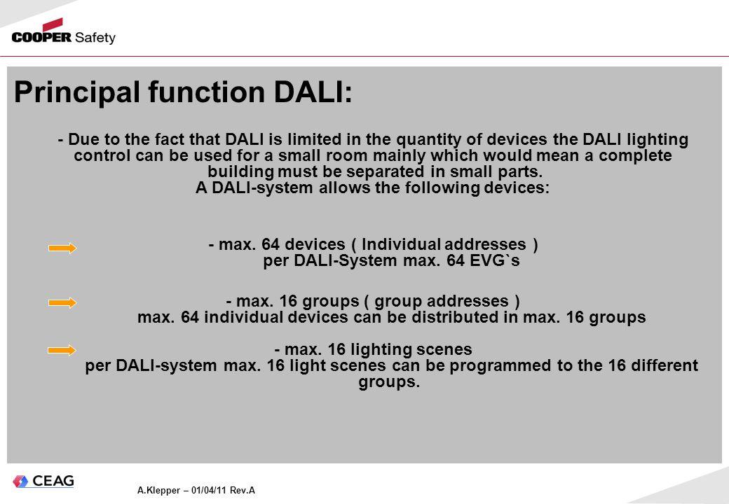 Principal function DALI: