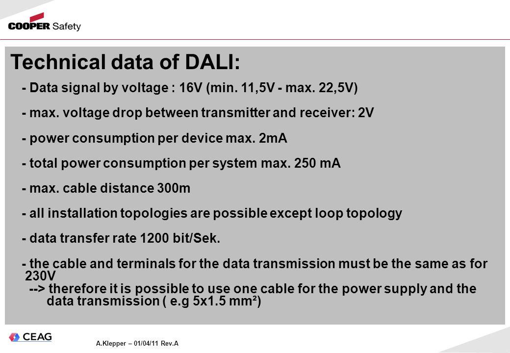 Technical data of DALI: