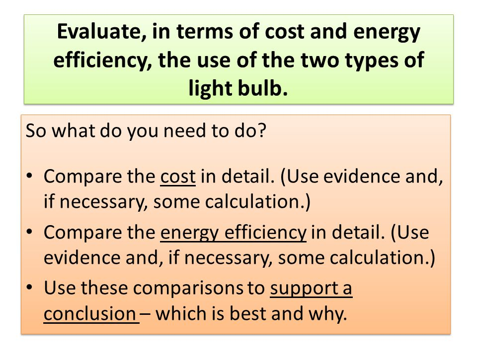 Evaluate, in terms of cost and energy efficiency, the use of the two types of light bulb.